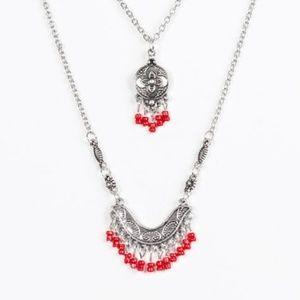 paparazzi Jewelry - Bohemian Belle - Red Necklace Set